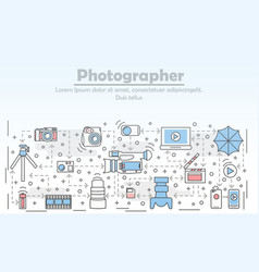 photography concept flat line art vector image vector image