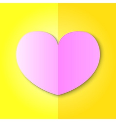 Pink Heart on Yellow Background vector image vector image