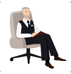 psychoanalyst sitting in chair and doing remarks vector image vector image