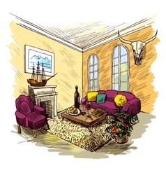 Room Sketch Color vector image