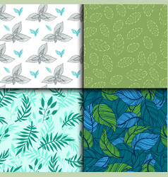 seamless pattern with leaves hand drawn style vector image vector image