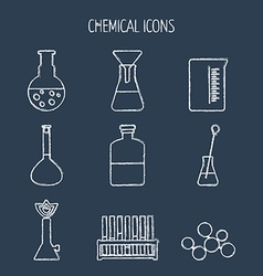 Set of linear chemical icons Painted with chalk vector image