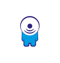 abstract person character with wi fi symbol head vector image vector image