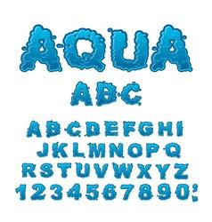 Aqua ABC Drops of water alphabet Wet Letters Water vector image