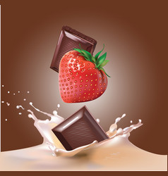 chocolate strawberry and milk vector image vector image