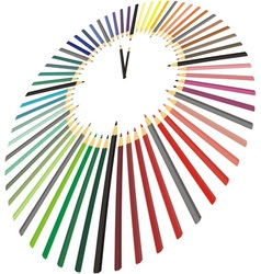 Clock made of crayons in perspective vector image vector image