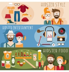 flat design mini banners with hipster theme vector image vector image