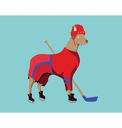 Hockey Dog Mascot in Red Sportswear vector image vector image