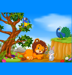 Lion with mountain cliff scene vector