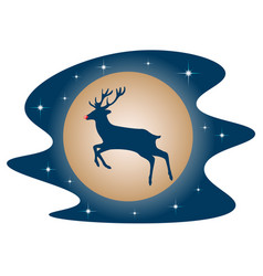 rudolph the deer red nose in the sky vector image