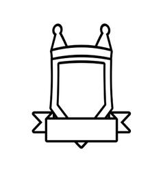 shield element sticker outline empty vector image