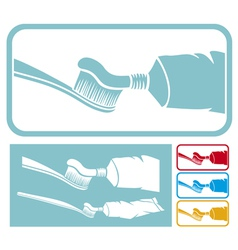 toothbrush and toothpaste icon vector image vector image