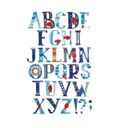 Watercolor alphabet in marine style with vector image vector image