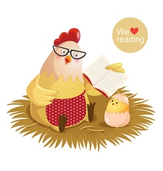 Cartoon hen and chick reading a book vector image