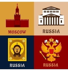 Cultural historic and religion russial flat icons vector
