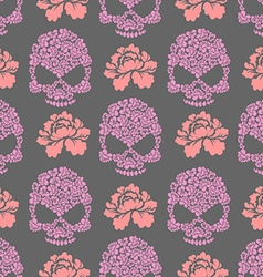Flower skull seamless pttern Skull of pink flowers vector image