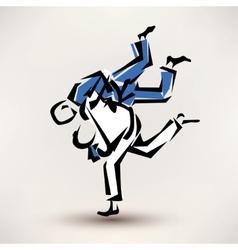 judo symbol one wrestler throw another vector image vector image