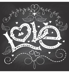 Love hand-lettering for Valentines day on vector image