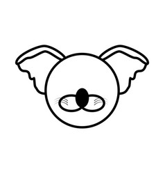 outline koala head animal vector image