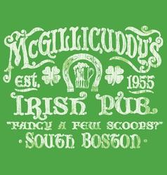 Vintage Irish Pub Sign T-shirt Graphic vector image
