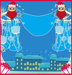 card with funny owls winter landscape vector image vector image