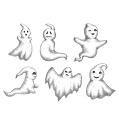 Cartoon halloween funny ghots icons vector image vector image