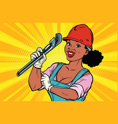 construction worker with adjustable wrench woman vector image vector image
