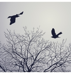 Crow and tree vector