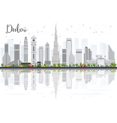 Dubai City skyline with Gray Skyscrapers vector image