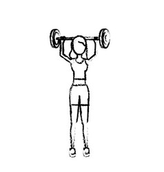 figure woman with dumbbell to do exercise vector image