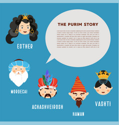 Happy purim the story of purim with traditional vector