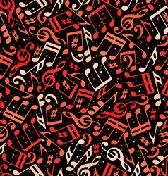 Red musical notes seamless pattern vector image vector image