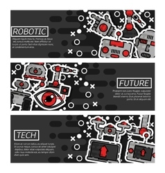 Set of Horizontal Banners about robotic vector image vector image