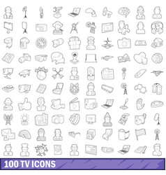 100 tv icons set outline style vector image
