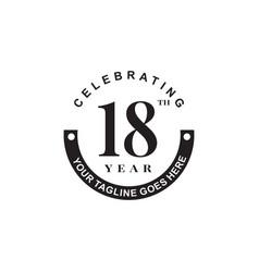 18th year anniversary logo design template vector