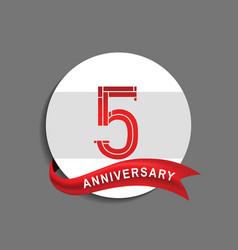 5 anniversary with white circle and red ribbon vector