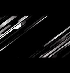 Abstract silver metallic cyber pattern on black vector