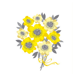 Abstract wedding bouquet with yellow camellia and vector