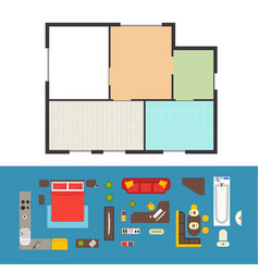 Apartment plan and furniture set vector