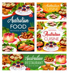Australian cuisine food dishes menu meals vector