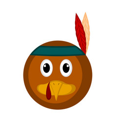 avatar of a turkey bird with an indian hat vector image