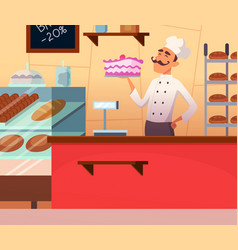 background baker male at work vector image