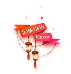 Banner with red ribbon and arabic lantern for holy vector image