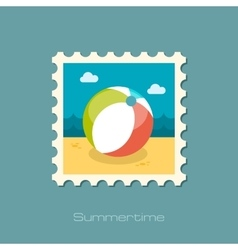 Beach Ball flat stamp vector
