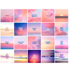 big set 20 square blurred nature purple pink vector image
