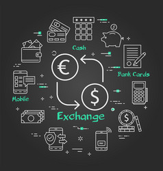 black finance concept- money and currency exchange vector image
