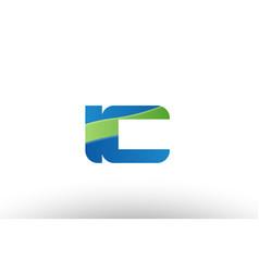 Blue green ic i c alphabet letter logo vector