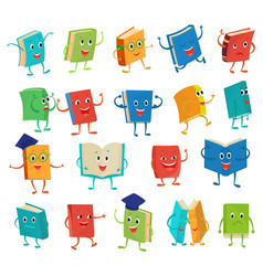 Book character cartoon emotion textbook vector