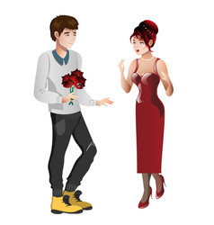 Boy character gives gift bouquet flowers to girl vector