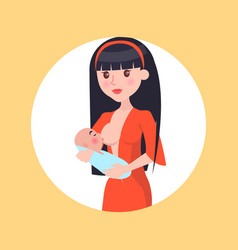 Brunette young mother feed her newborn baby breast vector
